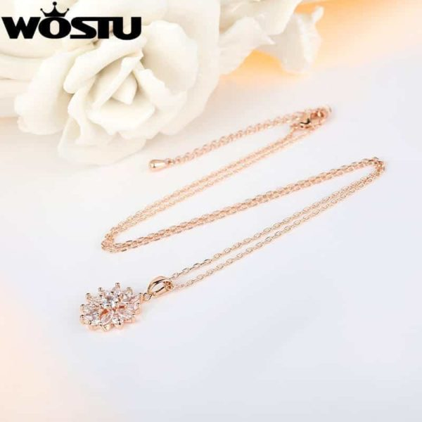 Fashion Gold Color Flower Pendant Necklaces With Zircon Crystal 5