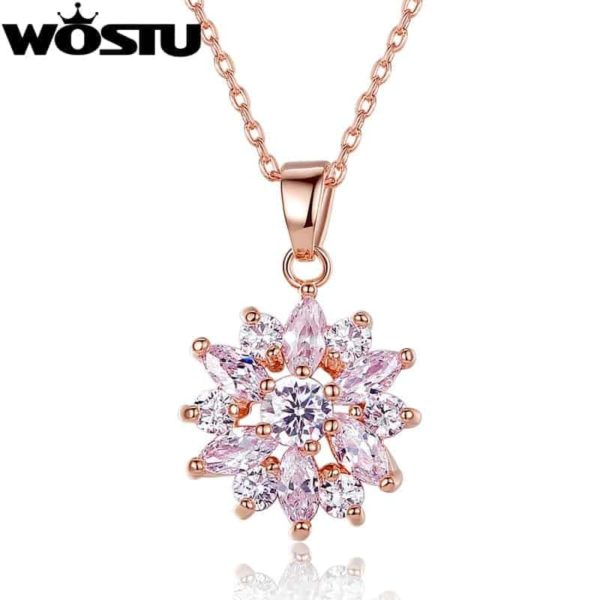 Fashion Gold Color Flower Pendant Necklaces With Zircon Crystal 1