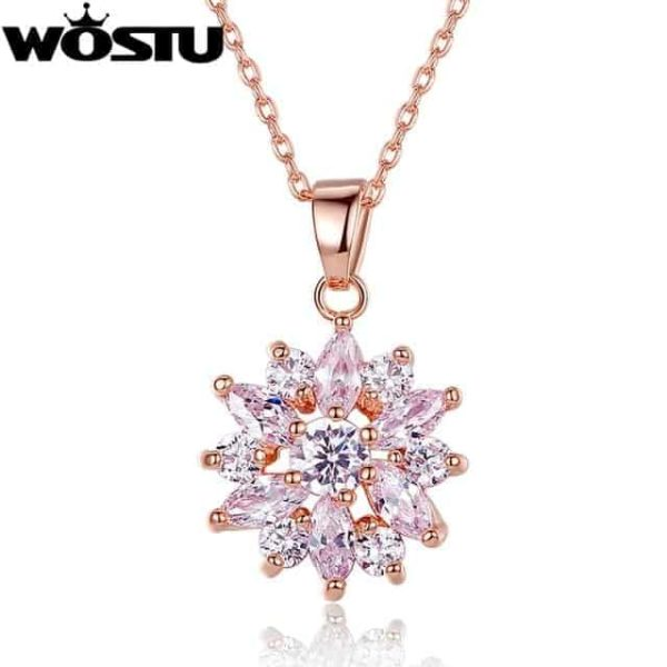 Fashion Gold Color Flower Pendant Necklaces With Zircon Crystal 6