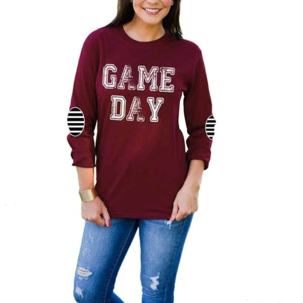 Game Day Elbow Patch Printed T-Shirt