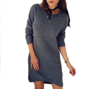 Mini Dress Vintage Solid O-Neck Long Sleeve