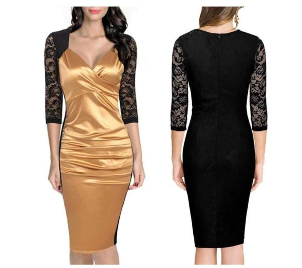 SHARI FASHION New Hot Fold, V Collar Lace Stitching Dress 4