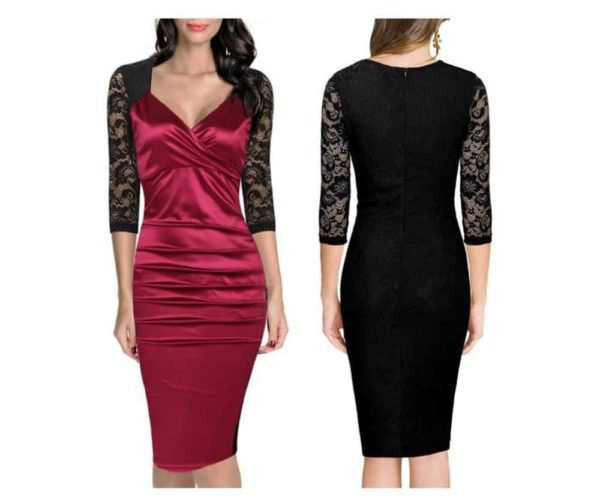 SHARI FASHION New Hot Fold, V Collar Lace Stitching Dress 5