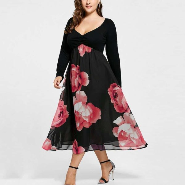 Ruffle Floral Dress With Full Sleeve Plus Size 2