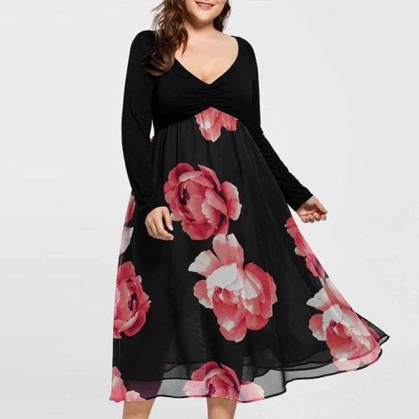 Ruffle Floral Dress With Full Sleeve Plus Size
