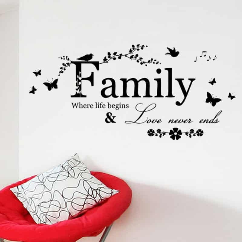 Family Love Never Ends Quote Wall Sticker Rhalyns Enchanting Quotes About Family Love