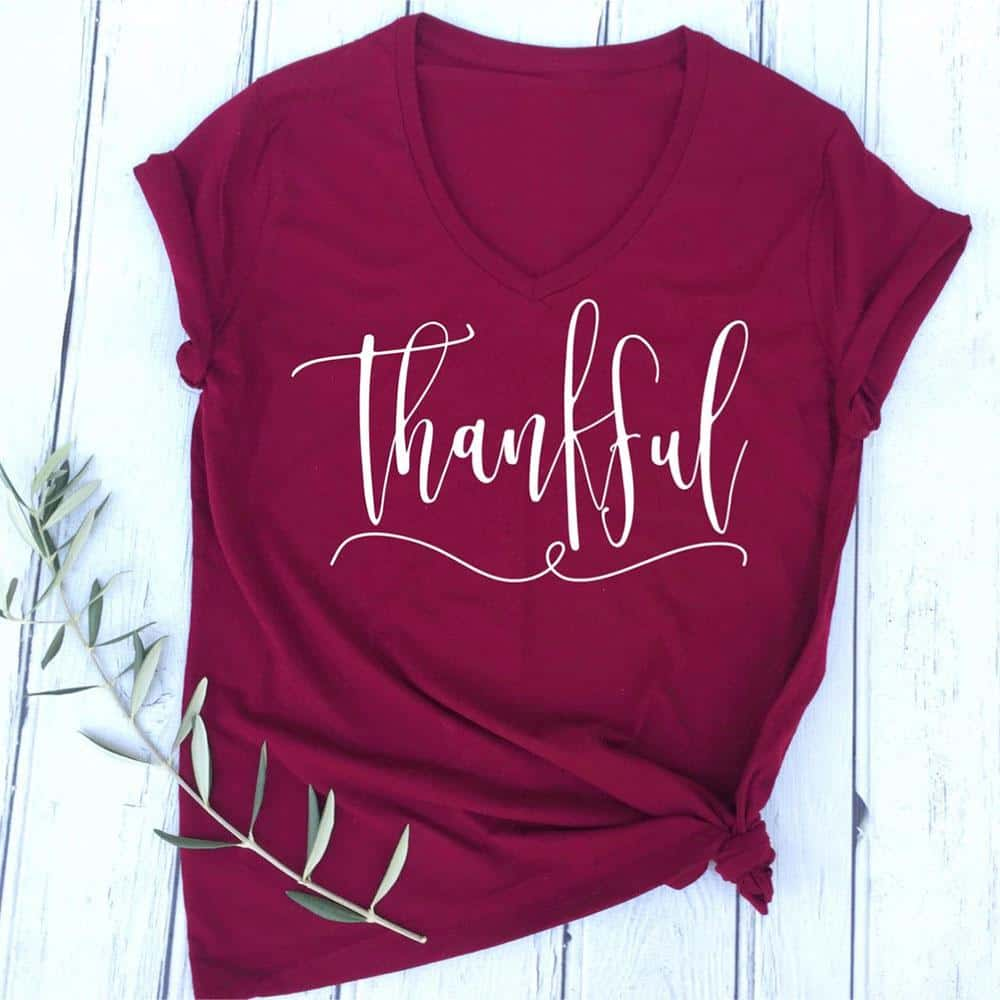 Short sleeve thankful letters printed t shirt rhalyn 39 s for Letter print t shirt