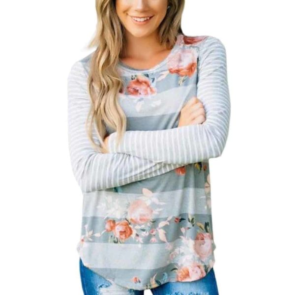 Fashion T-shirt Floral Printed Long Sleeve 1
