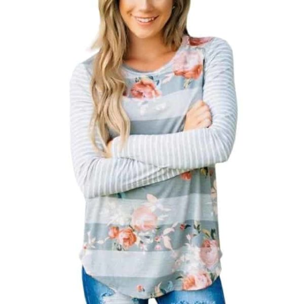 Fashion T-shirt Floral Printed Long Sleeve 4