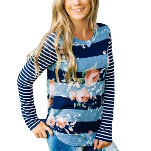 Fashion T-shirt Floral Printed Long Sleeve 2