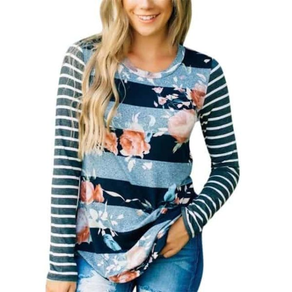 Fashion T-shirt Floral Printed Long Sleeve 3