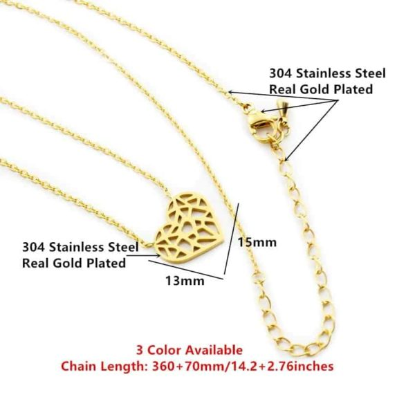 Choker Hollow Heart Necklace Stainless Steel 2