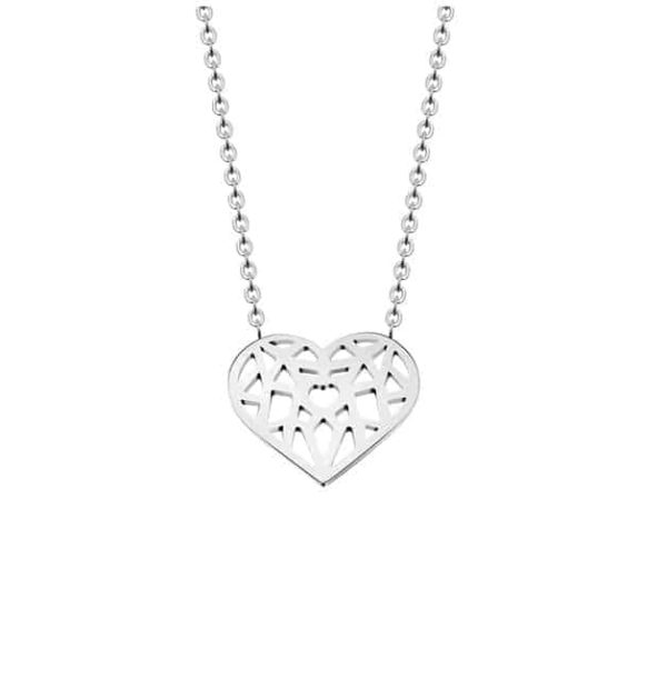 Choker Hollow Heart Necklace Stainless Steel 8