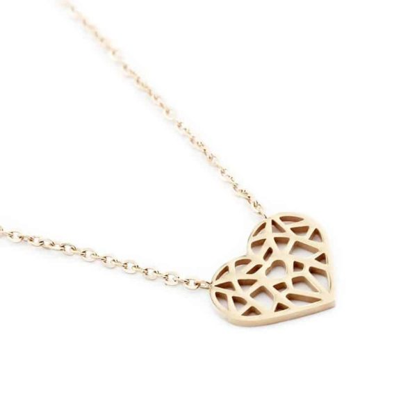 Choker Hollow Heart Necklace Stainless Steel 3