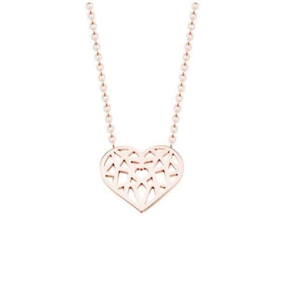 Choker Hollow Heart Necklace Stainless Steel 9