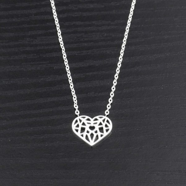 Choker Hollow Heart Necklace Stainless Steel 4