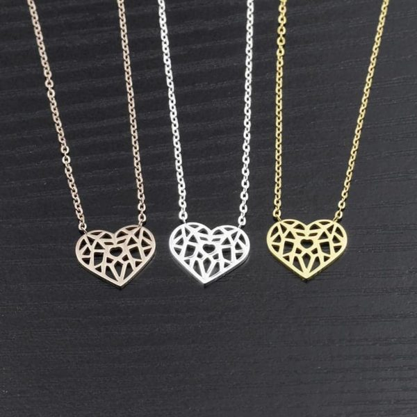 Choker Hollow Heart Necklace Stainless Steel 5