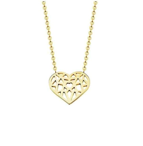 Choker Hollow Heart Necklace Stainless Steel 7