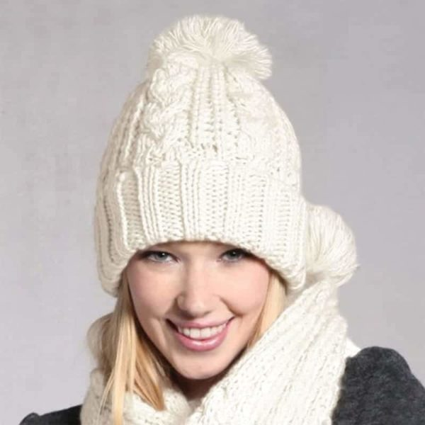 Fashion Womens Knit Handmade Hat and Scarf 1