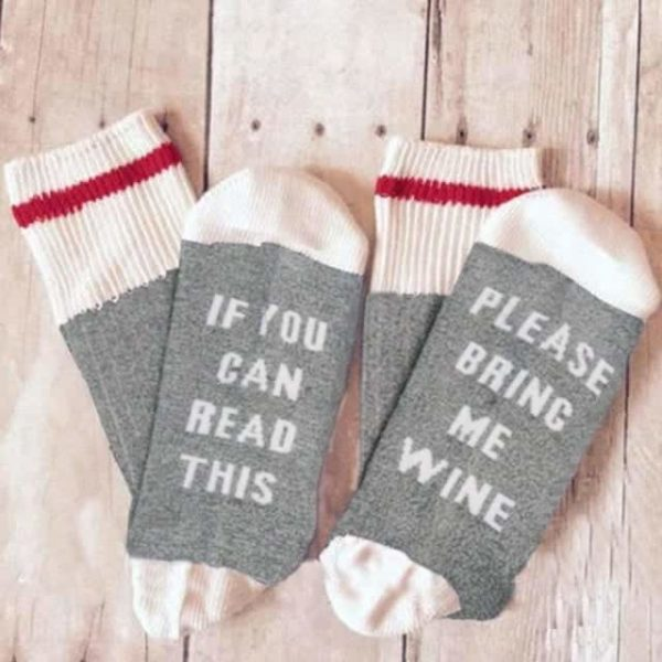 Funny If You Can Read This Bring Me A Glass Of Wine Socks 5