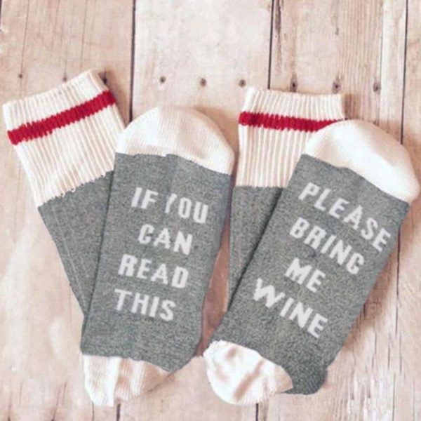 Funny If You Can Read This Bring Me A Glass Of Wine Socks 3