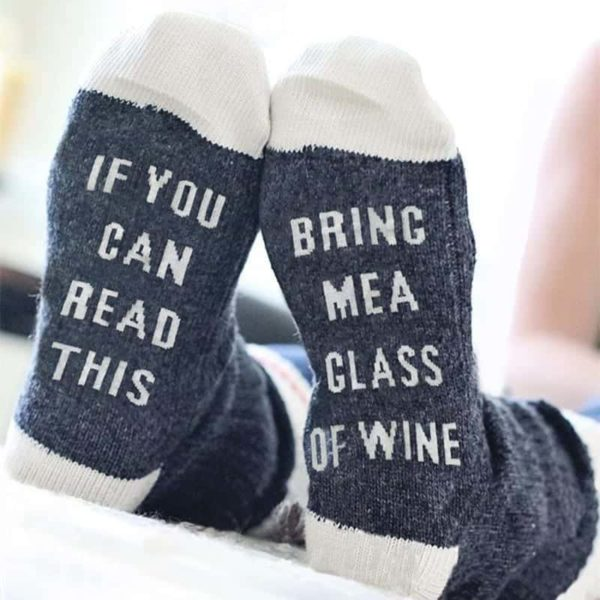 Funny If You Can Read This Bring Me A Glass Of Wine Socks 1