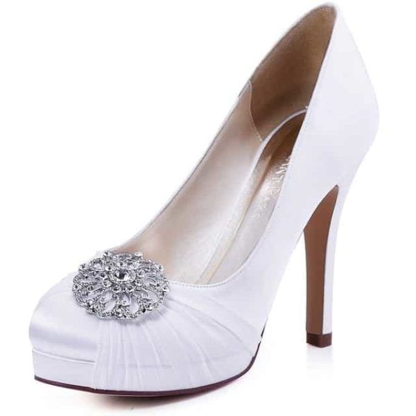 Mint High Heel Bridal Wedding Shoes White