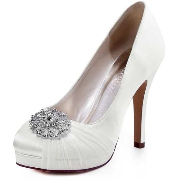 Mint High Heel Bridal Wedding Shoes Ivory