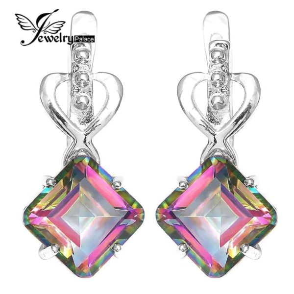 Jewelry Palace 8ct Rainbow Fire Mystic Topas Earrings 1