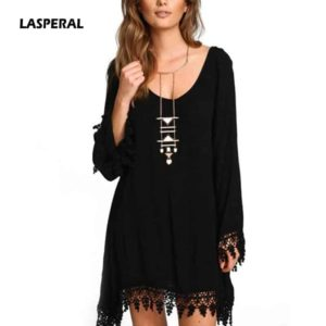 LASPERAL Long Sleeve Tassel Casual Dress
