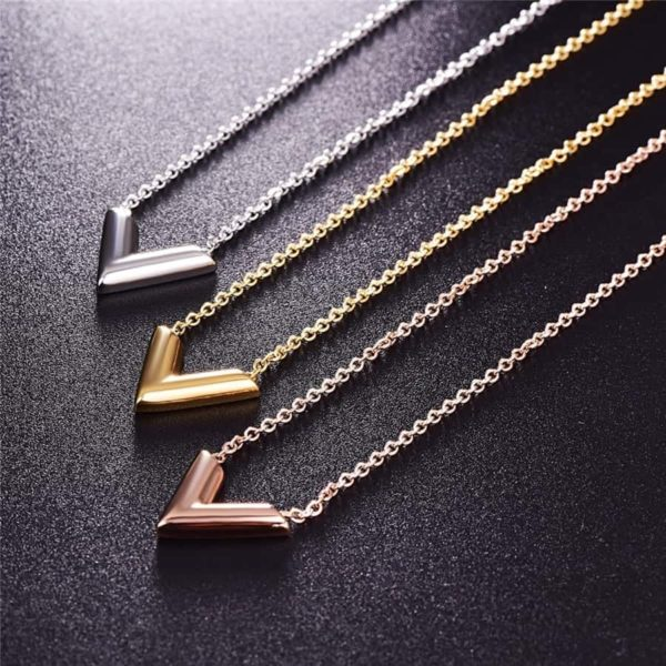 Martick 316L Stainless Steel Gold-Color V Letter Shap Pendant Necklace 4