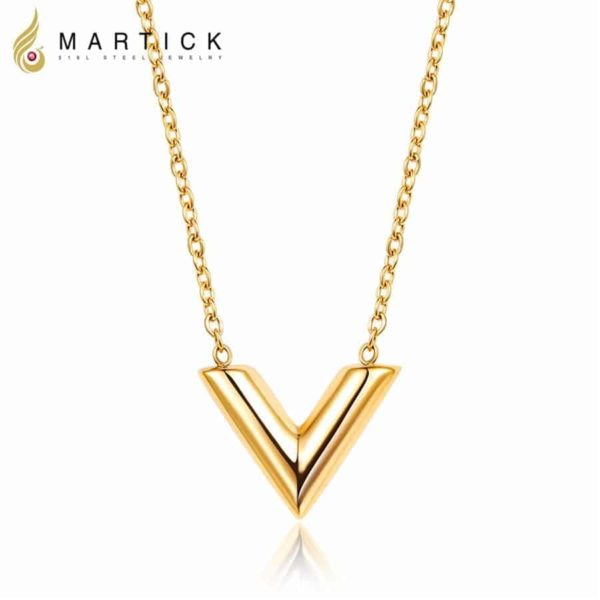 Martick 316L Stainless Steel Gold-Color V Letter Shap Pendant Necklace 1