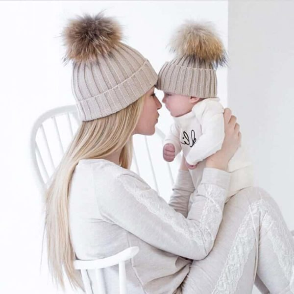 Mom and Baby Matching Knitted Hats