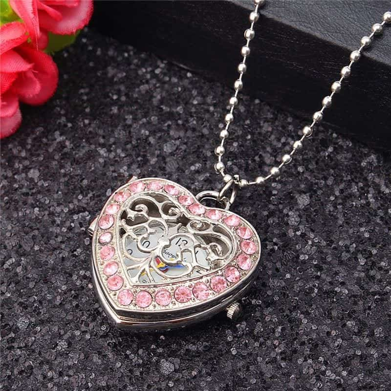 New pink heart shape pendant necklace rhalyns previous aloadofball Image collections