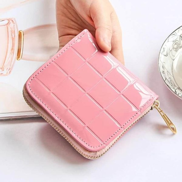 Small Leather Plaid Wallet Zipper Coin Purse 4
