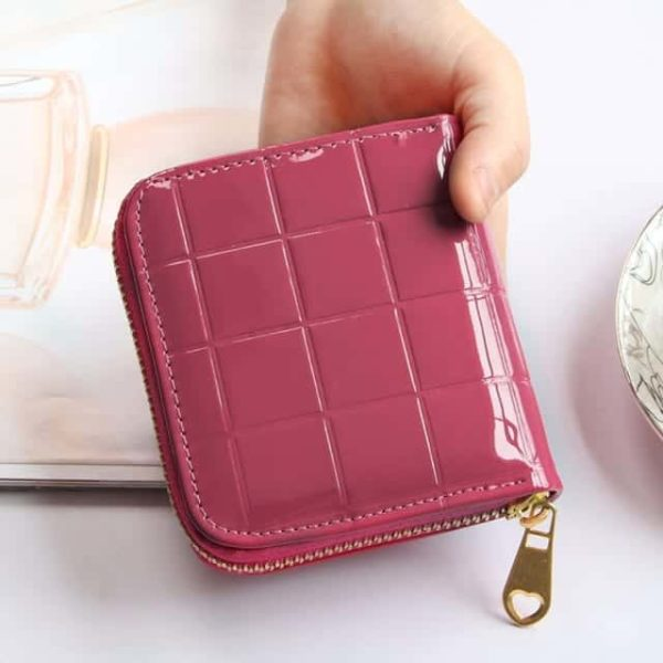 Small Leather Plaid Wallet Zipper Coin Purse 10