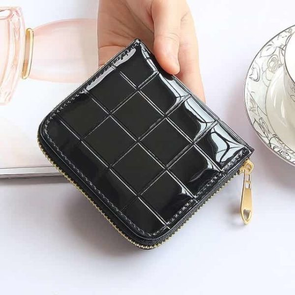 Small Leather Plaid Wallet Zipper Coin Purse 7