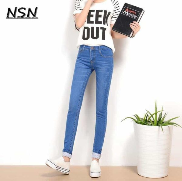 Two Cuffs Worn Jeans Casual Trousers Pencil Pants 2