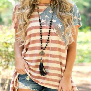 American Flag Asymmetric T-Shirt Plus Size