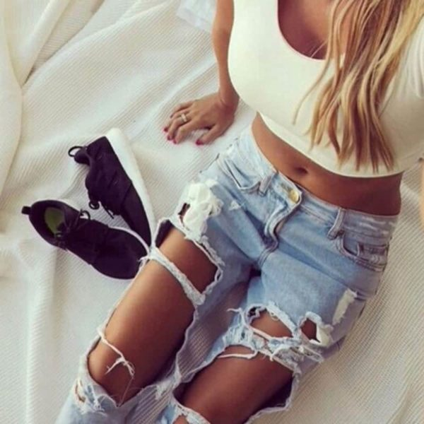Sexy Women Destroyed Ripped Distressed Slim Jeans Pants 1