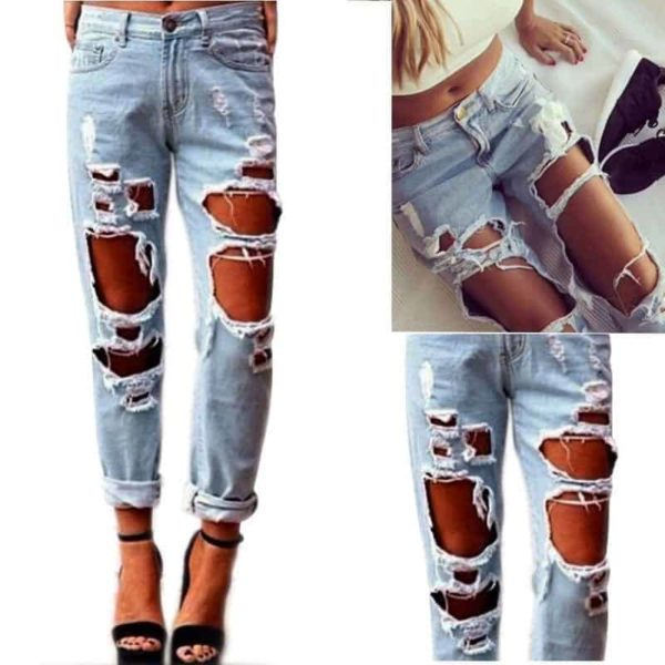 Sexy Women Destroyed Ripped Distressed Slim Jeans Pants 2