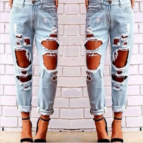 Sexy Women Destroyed Ripped Distressed Slim Jeans Pants 3