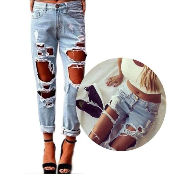Sexy Women Destroyed Ripped Distressed Slim Jeans Pants 4