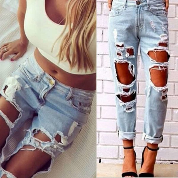 Sexy Women Destroyed Ripped Distressed Slim Jeans Pants 5
