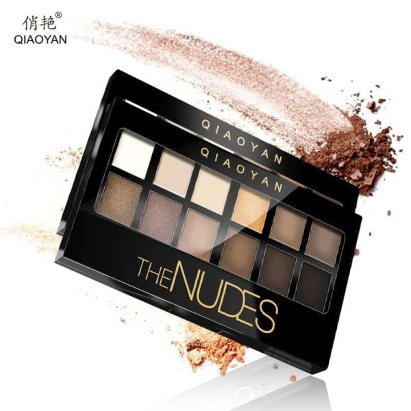 Shine NUDES 12Colors Matte Natural Eyeshadow Pallete with Brush 1