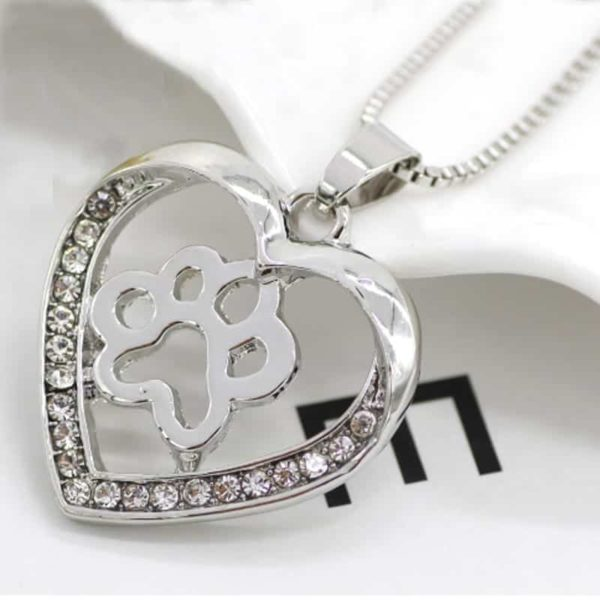 Silver Colors Heart Love Dog Paw Inside Pendant Necklace 2
