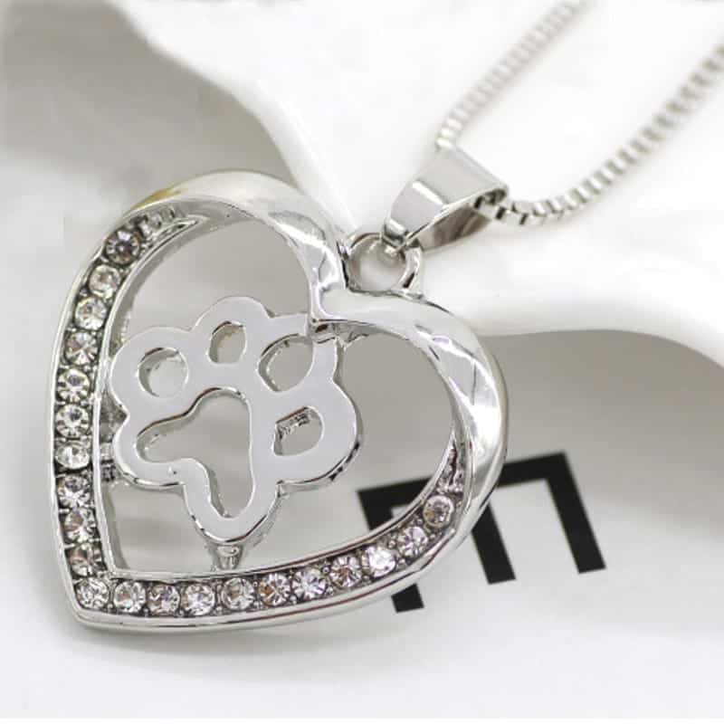 silver colors heart love dog paw inside pendant necklace rhalyns
