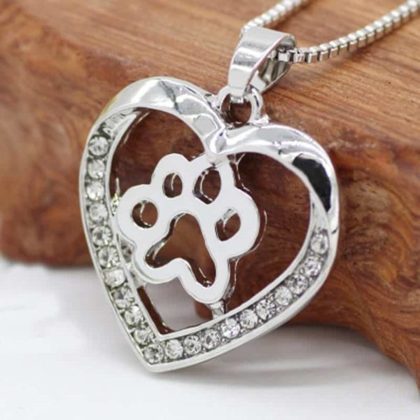 Silver Colors Heart Love Dog Paw Inside Pendant Necklace 3