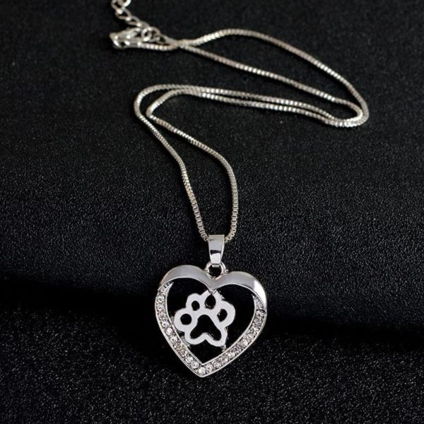Silver Colors Heart Love Dog Paw Inside Pendant Necklace 4