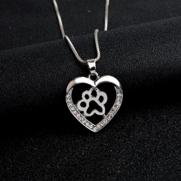 Silver Colors Heart Love Dog Paw Inside Pendant Necklace 5